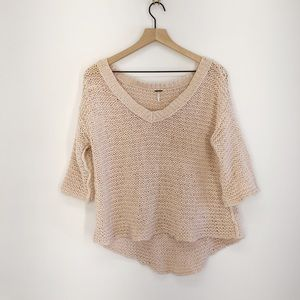 Free People V Neck Loose Knit Sweater XS